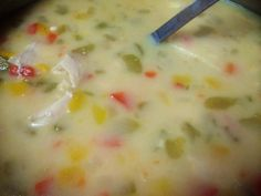 Trim Healthy Mama-Fuel pull Chicken Soup. Top it with a couple drops of Frank's Hot Sauce if desired.  3 bnls sknls chkn breast 1 can 99% ff chicken broth Water, several cups  1/2 C onion, chopped 2 stalks celery, chopped 1/2 of each small red, yellow and orange pepper, chopped A swirl of Bragg's Aminos Nutritional yeast Garlic powder Onion powder Sea salt Cayenne  3 light laughing cow chipotle queso wedges