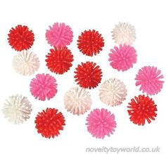 Assorted white, red and pink spikey rubber balls that are great as a decorative or display items. In a Valentine's day colour theme and measure 2cm. Wholesale bulk buy from 3456 units.