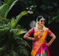 Offbeat Kanjeevaram Sarees For Gorgeous South Indian Brides! - - Bookmark These Offbeat Kanjeevaram Sarees For A Stunning And Glamorous Bridal Look. For more such information, stay tuned with shaadiwish. Bridal Sarees South Indian, South Indian Bridal Jewellery, South Indian Weddings, South Indian Wedding Hairstyles, Indian Wedding Wear, Bridal Hairstyles, Indian Hairstyles, Indian Bride Poses, Indian Groom