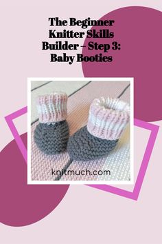 Improve your knitting skills in one week! Beginner knitters build on the basics this week with tutorials to make these adorable Baby Booties - free pattern.💜😁 Using Lion Brand Yarns Feels Like Butta yarn #Lionbrandyarn #Yarn #Feelslikebutta #Yarnaddict #Knittingtutorials Magic Loop Knitting, Baby Booties Free Pattern, Pom Pom Baby, Learn How To Knit, Lion Brand Yarn, Knit In The Round, Baby Gift Sets, Yarn Needle, Yarns