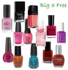 Good to know - list of Big 3 Free nail polish brands. Big 3 =  Dibutyl Phthalate (DBP), Formaldehyde, and Toluene.