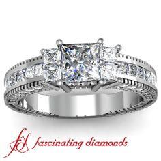 Princess cut Vintage Style Heavy Diamond Engagement RIng