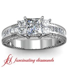 Princess cut Vintage Style Heavy Diamond Engagement RIng