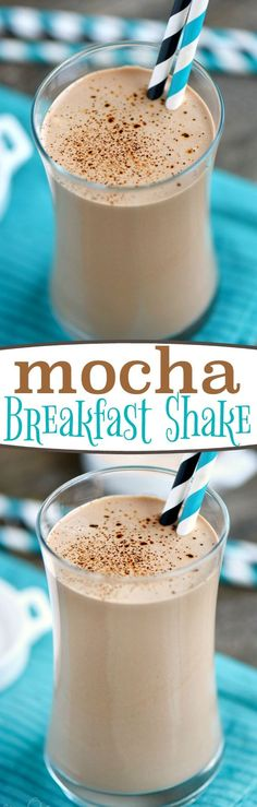 This delicious Mocha Breakfast Shake is made with Greek yogurt for a wake-me-up, protein-packed breakfast! For those mornings when only coffee AND chocolate will do! // Mom On Timeout Juice Smoothie, Mocha Smoothie, Smoothie With Coffee, Coffee Smoothie Recipes, Coffee Protein Smoothie, Smoothie With Greek Yogurt, Breakfast Smoothie Recipes With Yogurt, Protein Shake With Coffee, Morning Protein Shake
