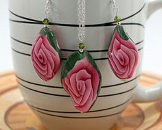 Pink Rose Oval Twist Earrings and Pendent by OrdinaryWomen on Etsy