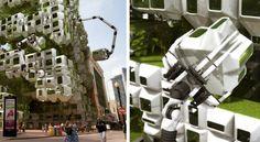 Eco Pods Architectural Concept Projet architectural d'anticipation imaginé par le studio d'architecture de Boston Howeler + Yoon en collaboration avec Squared Design Lab, bio-réacteur à placer dans les coeurs urbains, sa façade est entièrement constituée de modules, qui peuvent être déplacés par des bras en fonction de l'exposition, contenant un substrat de croissance et une certaine variété d'algues pouvant être transformée en carburant.  Trendsnow