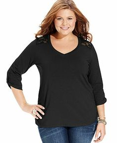 Extra Top, Three-Quarter-Sleeve Lace-Back