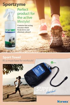 Fitness, Sports, Work-out products from Norwex. Sportzyme is a bioactive formula that contains dormant, nonpathogenic, fast-acting microbes and enzymes that break down and eliminate organic residues which cause odors in shoes, equipment bags and sporting equipment. Order on www.victoriareeve.norwex.biz