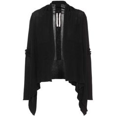 Rick Owens Draped Virgin Wool Cardigan ($475) ❤ liked on Polyvore featuring tops, cardigans, black, knitwear, rick owens top, draped cardigan, drapey tops, drapey cardigan and rick owens