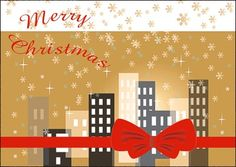 Real Estate Business Christmas Card can wrap up your holiday expenses in style with its city wrapped in a bow.