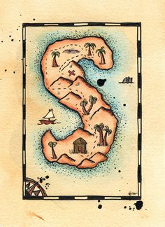 READY-TO-SHIP Letter S Treasure Map / 5 x 7 by paintandink on Etsy