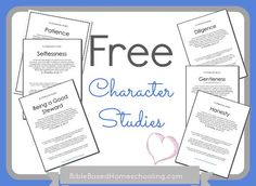 Check out this series of {Free} Character Studies from Confessions of a Homeschooler. Click the link and then go through each of the days for studies on the following:    Selflessness  Self Control  Peacemaking  Patience  Obedience  Humility  Honesty  Good Steward  Gentleness