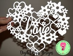 Love Papercut Template SVG / DXF Cutting File For Cricut / Silhouette & PDF Hand Cut Your Own Printable, Download, Commercial Use by DigitalGems on Etsy