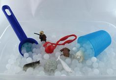 Our new frozen sensory bin kit includes everything you need to make 2 arctic themed sensory bins. With this DIY kit, by simply adding water to the included dry packets you can make 1 bin of opaque whi