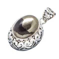 """Pyrite In Magnetite (healer's Gold) 925 Sterling Silver Pendant 1"""" PD529123"""