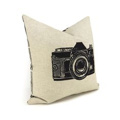Camera pillow, Decorative throw pillow, Black and natural, Geekery - Black vintage camera pillow cover in 16x16. $34.00, via Etsy.