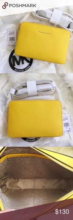 """Michael Kors Jet Set Large Crossbody Brand new with tags! Color is called sunflower.   -Saffiano Leather -Adjustable Shoulder Strap -Two Interior Pouch Pockets -9 x 4 x .75"""" -Zip Fastening -Fully Lined -Imported MICHAEL Michael Kors Bags Crossbody Bags"""