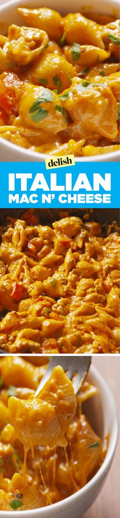 Italian Mac & Cheese....Made this tonight but improvised. Used chicken instead of sausage and Penne instead of shells. Sooo good. I want to try it with sausage next though.