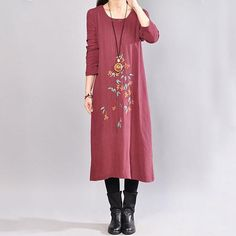 Casual Round Neck Long Sleeve Wine Red Embroidery Dress