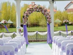 Indoor Wedding Decorated with Fabric   Decorating Wedding Arches
