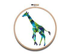 Giraffe Cross Stitch Geometric Printable PDF by NikkiPattern