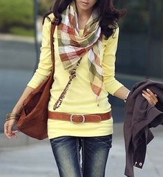 To elongate your torso, pair a long tee with a hip belt on top. -- very cute