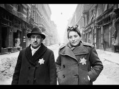 WWII Jewish Couple Wearing Yellow Stars: A Jewish couple in the Budapest ghetto wear yellow stars on their jackets. In April of a declaration ordered all Jews in Hungary to prominently wear yellow stars. Jewish History, World History, Warsaw Ghetto, Warsaw Poland, Nazi Propaganda, Second World, World War Two, Georgia, Black And White