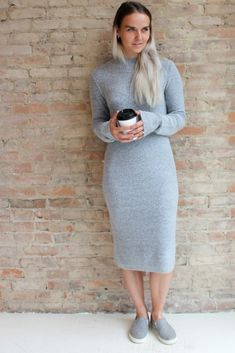 Alexxa Mock Neck Sweater Dress - grey #affordable-sweater-dress #Alexxa #dresses-with-long-sleeves
