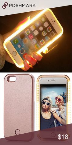Luminous selfie iPhone 6/6s/6+/7/7+ case 1. Dimmer Button to control the intensity of the lighting output. 2. Rechargeable case battery and included micro USB charging cord. Long lasting battery that works independently for weeks with normal use and doesn't drain your phone battery. 3. Tough, impact resistant plastic. Your phone is snug and safe with the  case.  4. Use for selfies, face timing, Skype, make-up light, social media like  Snapchat & Instagram-show your best self. Also a great…
