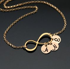 Gold INFINITY Initial Necklace Personalized by AlexisKJewels, $30.99