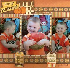 """Sweet Fall """"Pickin' Pumpkins"""" Page...with cute tags attached with ribbon.  By neboyle - A Cherry On Top Gallery."""