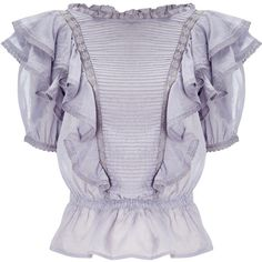 Isabel Marant Etoile Lilac Cotton Nathan Frill Blouse ($280) ❤ liked on Polyvore featuring tops, blouses, shirts, ruched shirt, peplum blouse, peplum tops, tailored shirts and short-sleeve shirt