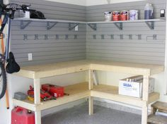 custom corner workbench area in the garage; add slatwall to the walls to store items and hang work tools custom corner workbench area in the garage; add slatwall to the walls to store items and hang work tools or garden tools Diy Garage Work Bench, Diy Garage Storage, Diy Garage Shelves, Storage Ideas, Garage Organization, Storage Shelves, Corner Shelves, Storage Solutions, Organization Ideas