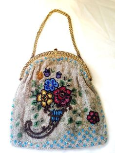 Beautiful Vintage/Victorian Beaded Bag/Purse, Red, Blue, Yellow Flower Design #EveningBag