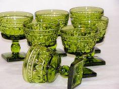 Vintage Avocado Green Indiana Glass Set Of Seven Colony Park Lane Pattern Champagne/Sherbet  by Bon  Appétit Antique