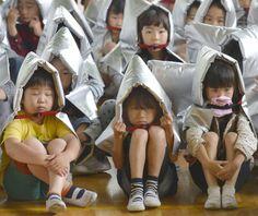 Japan -Earthquake drills at elementary school