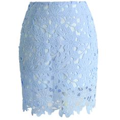 Chicwish Full Floral Crochet Bud Skirt in Pastel Blue ($36) ❤ liked on Polyvore featuring skirts, bottoms, blue, faldas, floral knee length skirt, blue slip, colorblock skirt, flower print skirt and blue floral skirt
