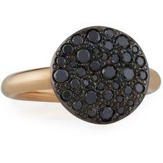 POMELLATO Sabbia 18k Rose Gold & Black Diamond Ring, Size 54