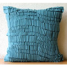 Luxury Blue Accent Pillows 16x16 Felt Pillow by TheHomeCentric