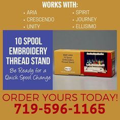 Prep Your Machine For Upcoming Embroidery Projects With A 10 Spool Embroidery Thread Stand This Easy To Attach St Embroidery Projects Embroidery Designs Spool
