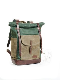 Hey, I found this really awesome Etsy listing at https://www.etsy.com/pt/listing/246898481/green-waxed-canvas-backpack-waxed-canvas
