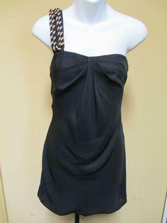 ERIN FETHERSTON Dress One Shoulder Black & Gold Cord RETAIL $350 - Size 2