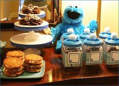 Cookie Monster Birthday Party - Love the idea of giving Cookie Jars as Party Favors