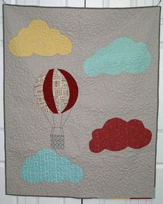 hot air balloon and clouds quilt
