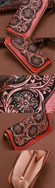 Handmade leather brown floral wallet leather men women