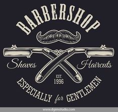 Vintage barbershop emblem with crossed razors and mustache. Click to the link to find more barbershop elements, badges, emblems and designs. #vectorillustration #vector#illustration #design #dgimstudio #barber #barbershop #hairdresser #razor #mustache Barber Shop Interior, Barber Shop Decor, Latest Haircuts, Stylish Haircuts, Hair Cut Guide, Barber Games, Barber Logo, Barber Apron, Barbershop Design