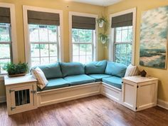 Custom Built Storage Corner Window Seat with End Tables and Enclosed Dog Crate- Dog Kennel Furniture- Custom Storage Corner Window Seats, Window Seat Storage, Window Benches, Corner Bench With Storage, Corner Seating, Room Window, Dog Window Seat, Corner Windows, Corner Hutch