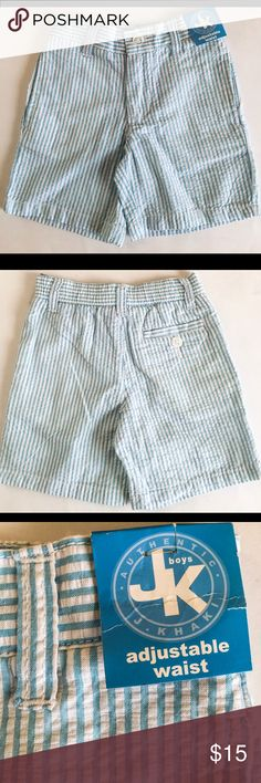 Jk J khaki Toddler Blue Seer Shorts NWT 2T New with tags JKhaki toddler shorts with adjustable waist. Lovely soft blue seer. Two side pockets and one back pocket with button. For any occasion. JK J Khaki Bottoms Shorts