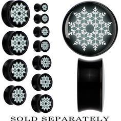 Acrylic Black White Snowflake Saddle Plug | Body Candy Body Jewelry #bodycandy