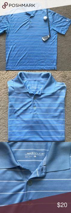 Nike Golf Polo Light Blue Stripes Men's Polo Shirt Nike Golf men's light blue polo with stripes.  Size Large.  Preowned like new! nike golf Shirts Polos